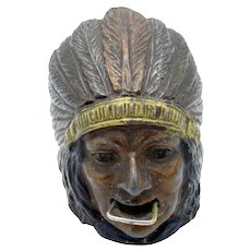Antique Metal Indian with Full Feather Head Dress, Tape Measure