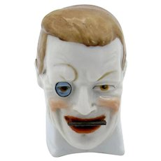 Antique Germany Porcelain Man's Head with Monocle Tape Measure