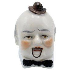 Antique Germany Porcelain Balding Man w/ Top Hat, Bow Tie Tape Measure