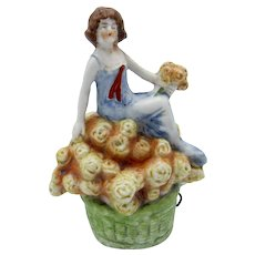 Antique Germany Porcelain Young Lady Sitting, Basket of Flowers Tape Measure