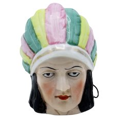 Antique Germany Indian Head with Feather Head Dress C-1928 Tape Measure