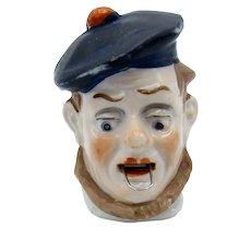 Antique Germany Porcelain Scottish Man Wearing a Hat Tape Measure