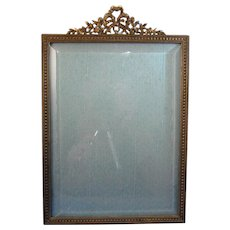 Antique French Bronze Picture Photo Frame, Garland, Heavy, Nice Stand