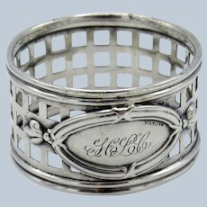 Antique Sterling Criss Crossed Pattern Napkin Ring