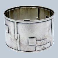 "Antique Deco ""BLOCKS"" Design Sterling Napkin Ring"