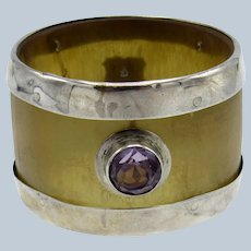Antique English Horn and Sterling with Jewel Napkin Ring