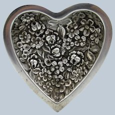 Antique Sterling Stieff Repousse Heart Dresser Tray Dish