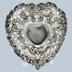 Antique Sterling Gorham Open Work Edge Heart Dish