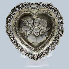 Antique Sterling Heart with Reynolds Angels, Cherubs