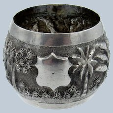Antique Coin Silver Scenic with Trees, Building