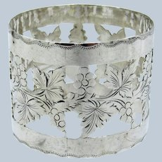Antique Sterling Grapes and Leaves Pattern Napkin Ring