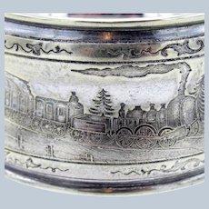 Antique Silver Napkin Ring with Steam Locomotive Train, Bridge, Scenes