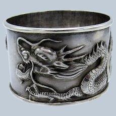 Antique ASIAN DRAGON Sterling Napkin Ring