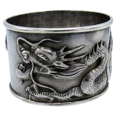 Antique ASIAN DRAGON Sterling Napkin Ring