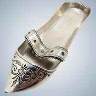 Antique French Silver Shoe With Strap, Used as Pipe Rest GREAT FOR VANITY