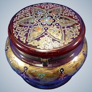 Antique Cranberry Glass Decorated Powder Dresser Jar