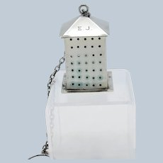Antique Sterling Square Lantern with Hinged Lid, Tea Ball, Tea Strainer