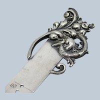 Antique Sterling Sea Serpent Design, Sewing Hem Gauge, Pat'd, Oct 1894
