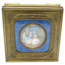 Antique BEST HUGE Bronze Dresser Box with Hand Painting, Enamel, Original Lining