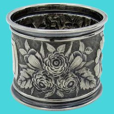 Antique Gorham Sterling Raised Floral Napkin Ring
