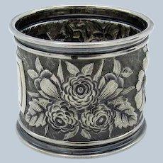Antique Gorham Sterling Raised Floral Napkin Ring