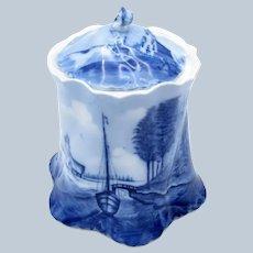 Antique Rosenthal Germany Delft Cracker Jar, Boat, Lighthouse, Porcelain