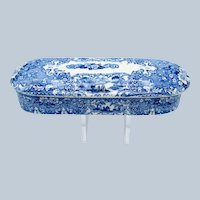 Antique Blue and White Staffordshire Transferware Toothbrush Box, C-1840-60
