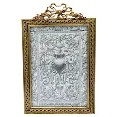 Antique Beautiful Jeweled French Bronze Frame