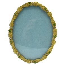 Antique Brass Frame with Green and Clear Rhinestones, Jeweled Picture Photo