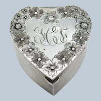 Antique Birmingham England C-1902 Sterling Engraved Heart Pill, Vanity Box
