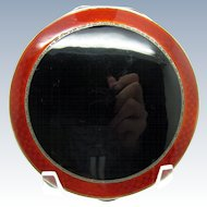 Vintage LARGE Black and Red Deco Style Sterling and Enamel Compact England 1934