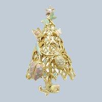 Vintage Christmas in July Kirks Folly Bugs, Christmas Tree Brooch Enamel
