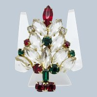 Vintage Christmas in July Tree Clear Marquis Stones w Red & Green Brooch Pin