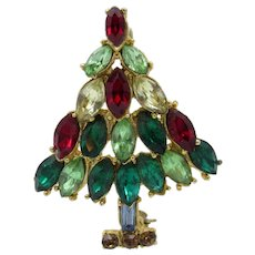 Vintage Christmas in July Tree Marquis Cut Colored Stones Brooch Pin