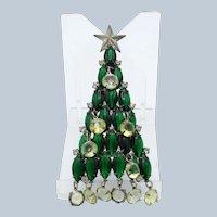 Vintage KJL Kenneth Lane Green Rhinestone Tree Brooch Pin with Dangles
