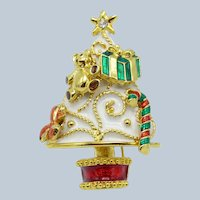 Vintage Christmas in July Tree With Removable Ornaments, Brooch Pin Enamel