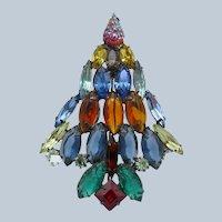 Vintage Christmas in July Tree, Albert Textured Stones, Brooch Pin
