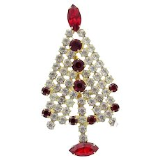 Vintage Christmas in July Tree, Clear Stones with Red Accents, Brooch Pin,