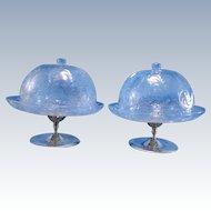 Antique AMAZING Pair Reversible Covered Bowls, Engraved Glass 1905 RARE UNIQUE