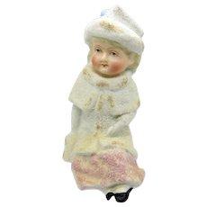 Antique Large Bisque Snowbaby Girl Child, MatchStriker, Match Holder, RARE