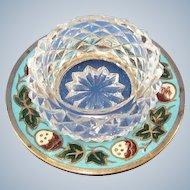Vintage French Enamel Strawberry Pattern Open Salt Cellar