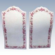 Porcelain Pair of Menus, Pink Floral Decoration, C-1900
