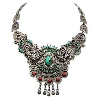 Old Matl Matilde Poulat Mexican Silver Necklace Palomas
