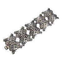 Los Castillo 543 Repousse Large Mexican Silver Vintage Bracelet