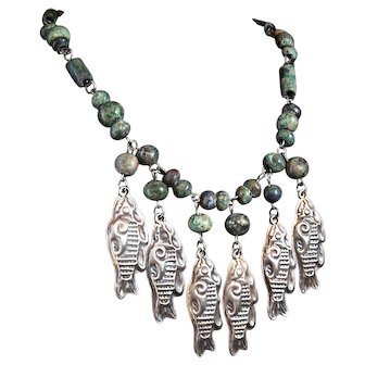 Mexico City Mexican Silver 925 Fish and Ancient Bead Necklace