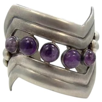 William Spratling Vintage Mexican Silver 980 Amethyst V Cuff