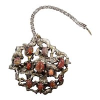 Carmen Beckmann Fire Opal Nugget Vintage Mexican Silver 925 Necklace