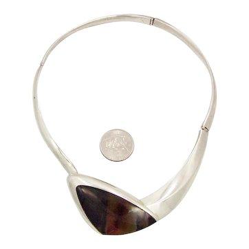 Enrique Ledesma Vintage Mexican 925 Silver Agate Necklace