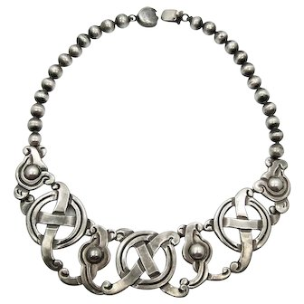 William Spratling X&O Vintage Mexican Silver Necklace