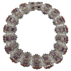 Matl Matilde Poulat Jeweled Vintage Mexican Silver Coral Necklace